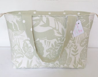 Wildlife Zippered Tote Bag, Sage Tote Bag, Medium Zippered Bag