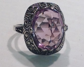 Vintage Art Deco Sterling Ring With Large Amethyst and Marcasites