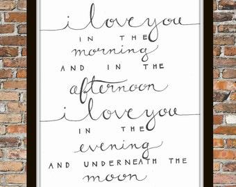 "Skidamarink ""I LOVE YOU"" nursery calligraphy print"