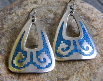 Vintage Taxco Sterling Silver & Turquoise Chip Inlay Dangle Earrings