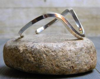 Modern Vintage Sterling Silver Curvy Bracelet Cuff