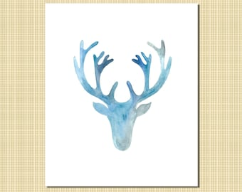 blue & gray stag art print