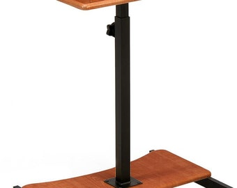 """24""""W Adjustable Laptop Stand, with Slide-Out Shelf, Tilting Surface - Cherry 119681"""