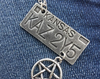 Supernatural Inspired Impala License plate charm necklace - Dean, Castiel, Sam, cosplay