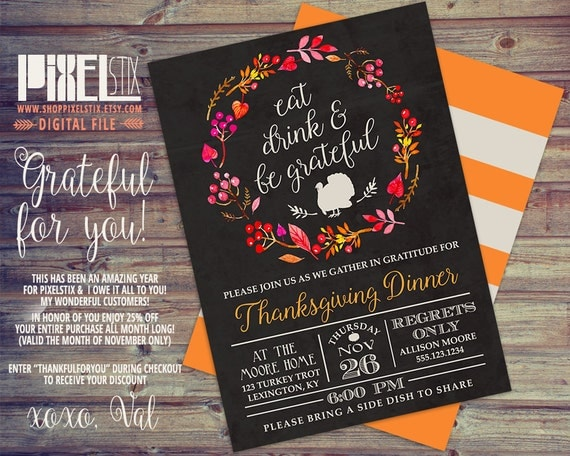 Eat Drink and Be Grateful, Rustic Thanksgiving Invitation