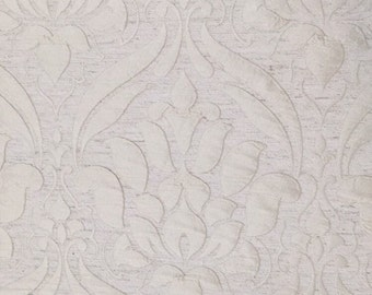 Cream Damask Drapery and Upholstery Fabric - Upholstery Fabric By The Yard
