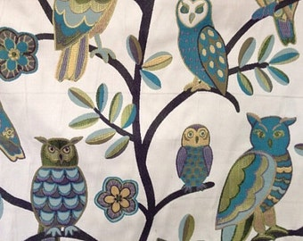 Wise Guy Teal - Owl Fabric - Upholstery Fabric By The Yard