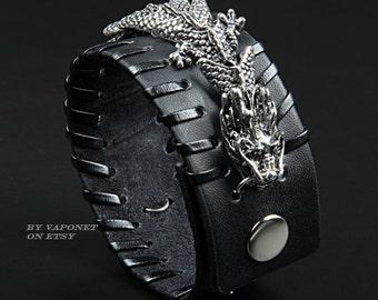 Cuff Bracelet- Mens Bracelet- Leather Bracelet- Womens Bracelet- Leather Cuff Bracelet- Cool Bracelet- Dragon Leather Wristband- Bracelets