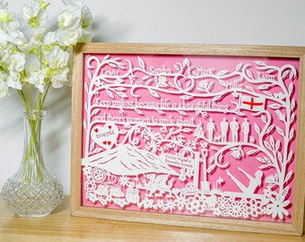 Personalised Wedding Anniversary Birthday Papercut