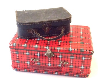 Old suitcases . Small suitcase. Doll suitcases.  Old luggage . Set of suitcases. Cardboard suitcases. Plaid suitcase.