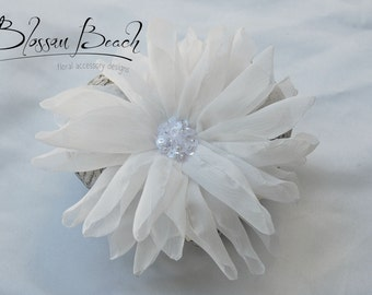 Bridal white chiffon dahlia bridal hair clip;ethereal bridal hair clip;bridal white hair flower;wedding hair flower