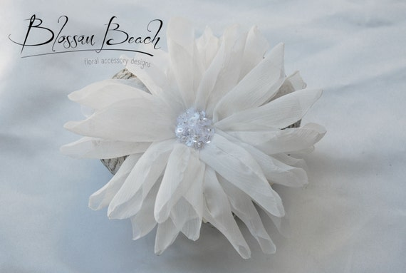 Bridal white chiffon dahlia bridal hair clip;ethereal bridal hair clip;bridal white hair flower;wedding hair flower