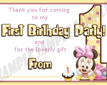 Minnie Mouse First / 1st Birthday Party Thank You Notes