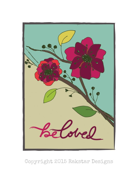 "Digitial Download - Floral Handlettered and Illustrated Beloved 8x10"" Print - Catholic Christian Art"