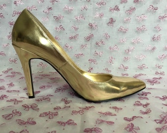 VIRTUE-15 gold metallic stiletto pumps heels US 8
