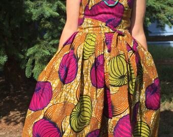 Summer Beauty Dutch Wax Sleeveless Maxi Dress With Pockets and Sash