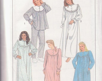 Simplicity 8914, Women Pajamas, Nightgown Robe, PJs Nightwear, Factory Folded Uncut 1980s