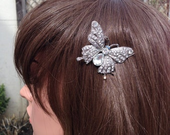 Butterfly Hair Clip: Vintage Silver Tone Butterfly Bridal Comb