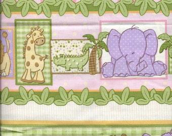 New Jungle Animal Stripe  100% cotton fabric by the half yard