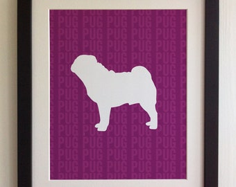 FRAMED Pug Dog Print - Purple, Birthday, New Home, Black or White frame, Fab Picture Gift