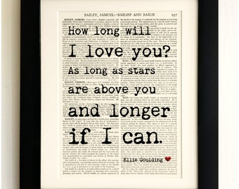 FRAMED ART PRINT on old antique book page - Ellie Goulding, How long will I Love You, Vintage Wall Art Print Encyclopaedia Dictionary