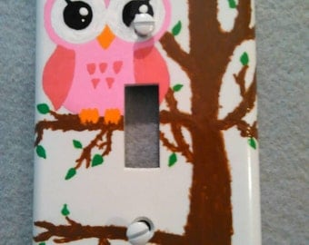 Light switch plate , owl hand painted light switch plate, owl switch plate,toggle plate , owl toggle plate,  switch plate