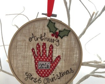 Freehand embroidered decorative first Christmas hanging hoop