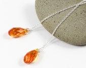 Silver Threader Earrings   Thread Earrings   Chain Earrings   Minimalist Earrings   Swarovski Earrings   Tangerine Orange Briolette Earrings