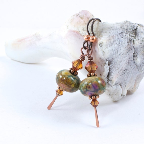 Lampwork Earrings in Autumn Colors By Barbara of Solana Kai Designs