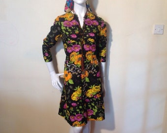1960's/70s bright bold festival/revival floral print dress