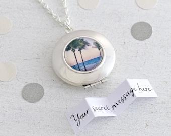 Beach Jewelry, Beach Wedding, Beach Necklace, Locket Necklace, Silver Locket, Round Locket, Beach Locket, Customised Locket, Surf Necklace