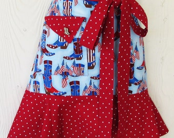 Patriotic Half Apron, July 4th, Cowgirl Boots, American Flag, Fourth of July, Red White and Blue, Country Style, KitschNStyle