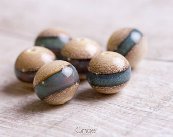 Organic ivory green lampwork beads, artisan, sra beads and spacers, beige, craquelure, mossy beads, natural beads