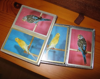 Vintage Parakeet Double Deck Bridge Playing Cards with Case by CONGRESS, Bird Illustrations, colorful playing cards