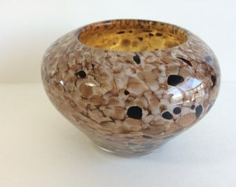 Vintage Murano Tortoise Shell Effect Gold Foil, Brown and Black Centerpiece Bowl