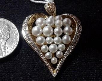 Vintage 14kt.Gold pendent / pearl enhancer,heart pendent,pearls,diamonds