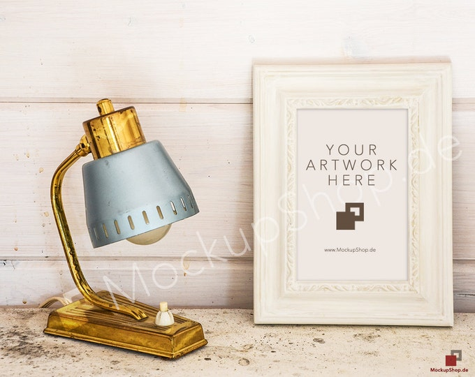 11x17 VerticalWHITE FRAME MOCKUP with old golden Lamp on vintage wooden background / digital download / instant download / gold frame mockup