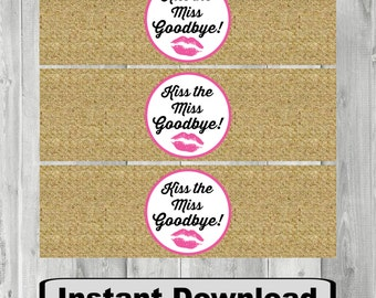Burlap Water Bottle Labels, Napkin Ring, Bridal, Wedding, Water Bottle Labels, Instant Download, DIY, Water Bottle Wrappers