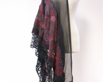 Boho delicate silk/woollen scarf. One-of-a-kind, handmade.