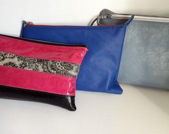 leather clutch bag Pink and black Leather Clutch Purse Lace Trim Handbag Gothic Punk Rockabilly Bag Goat Skin Purse One Of A Kind