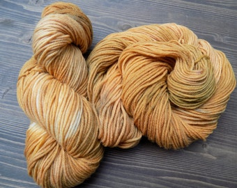 Hand Painted Yarn, Hand Dyed Yarn, Worsted Weight Yarn, Superwash Merino Wool, Orange Brown Cream