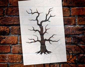 "Spooky Hollow Tree - Halloween Art Stencil - 4"" x 6"" - STCL742 - by StudioR12"