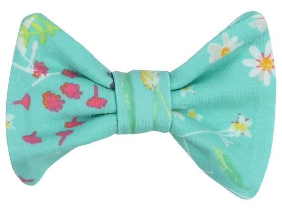 Aqua Blue Floral Baby Hair Clip Toddler Hair Bow Clip Blue Floral Bow Clip Floral Hair Clip Bow Classic Hair Bow Floral Toddler Hair Clip