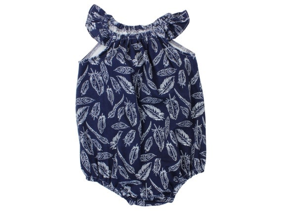 Navy Feather Baby Romper Toddler Romper Modern Romper Flutter Sleeve Romper Navy Blue Feather Romper