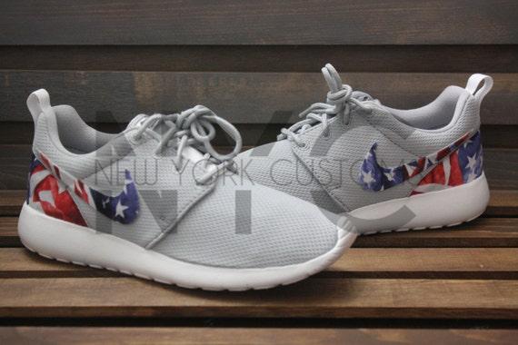 c1625d45245cc5 American Flag Nike Roshe Run Grey Floral Custom Kids by NYCustoms ...