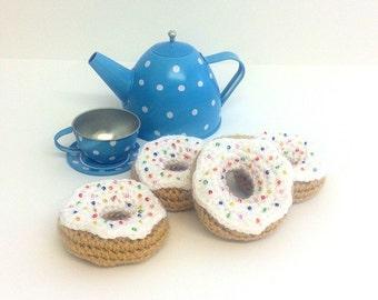 Mini Donuts Amigurumi : Play Food Crochet Mini Donuts set of 4 Gift Amigurumi
