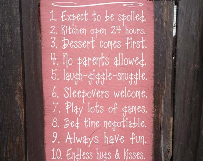 Nana's House Rules Sign, family saying, funny nana sign, nana sign, nana gift, rustic sign, christmas gift, 181/106