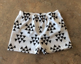 White With Black Triangles Print Baby Girls Summer Shorts