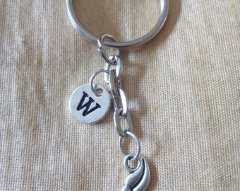 Mustache Keychain with Initial, Mustache Jewelry,  Silver Custom Jewelry, Charm Key chain