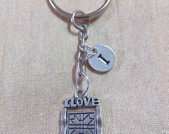 I Love Quilting Keychain with Initial, I Love Quilting Jewelry,  Silver Custom Jewelry, Charm Key chain
